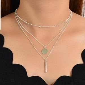 ○Janice○ Silver Chain Layered Necklace